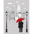 Man and woman with umbrella in London vector image vector image