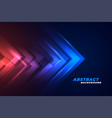 moving forward arrows in glowing red and blue vector image