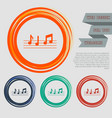music notes icon on red blue green orange vector image vector image