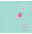 Pencil with light bulb word love Dash line heart vector image vector image