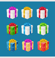 realistic 3d detailed present boxes set vector image vector image