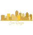 san diego california usa city skyline golden vector image