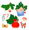 santa claus and glass ball pig develop bag fir vector image vector image