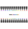 set of bright markers on a white background vector image vector image