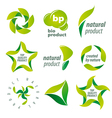 set of logos for organic natural products vector image