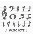set of music note icon simple flat style vector image vector image