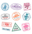 set of visa stamps for passports international vector image vector image