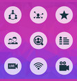 social icons set with community video vector image vector image