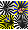 spiral vortex set optical 3d art vector image