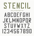 stencil font alphabet and numbers vector image vector image