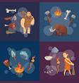 stone age elements cartoon cavemen vector image