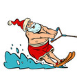 summer vacation water skiing santa claus vector image