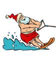 summer vacation water skiing santa claus vector image vector image