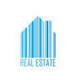 symbol of house with barcode design and real vector image vector image
