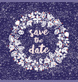 tile save date card with floral wreath vector image