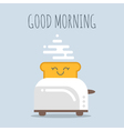 toaster with happy bread Good morning poster for vector image