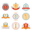 trophy awards flat emblems set vector image vector image