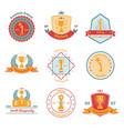 trophy awards flat emblems set vector image