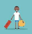 young black man travelling with his luggage flat vector image vector image