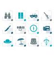 stylized safari hunting and holiday icons vector image