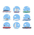 ships and boats in flat style vector image