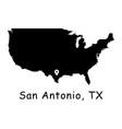1279 san antonio tx on usa map vector image vector image