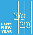 2020 happy new year background minimal line vector image vector image