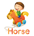 a boy on a toy horse vector image vector image