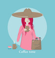a girl drinking coffee vector image