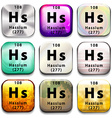 A periodic table showing Hassium vector image vector image
