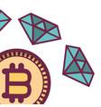 bitcoin and diamonds vector image vector image