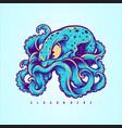 blue kraken octopus logo design your merchandise vector image vector image