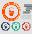 bucket icon on the red blue green orange buttons vector image vector image