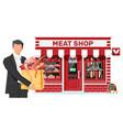 butcher shop store facade with man customer vector image