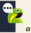 chat icon geometric parrot with talk bubble full vector image