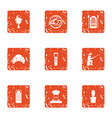 cooking fish icons set grunge style vector image vector image