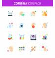 coronavirus awareness icons 16 flat color icon vector image vector image