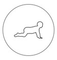 Crawling baby icon black color in circle isolated