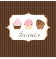 cupcake invitation background vector image vector image