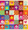 cute panda bears and flowers pattern vector image vector image