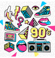 fashion patches in in 80s-90s memphis style
