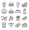 fastfood and street food icons set vector image