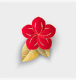 flower with leaf origami chinese new year decor vector image vector image