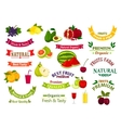 Fruit emblems ribbons of juice jam product label vector image vector image