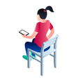 girl sit on chair icon isometric style vector image vector image