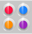 glass buttons in in shiny style four colors vector image