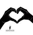 Hands in heart form detailed black and white vector image vector image