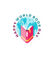 happy world book day vector image vector image