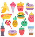 isolated icons food cartoon characters vector image