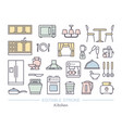 kitchen icon set linear icons with editable vector image vector image